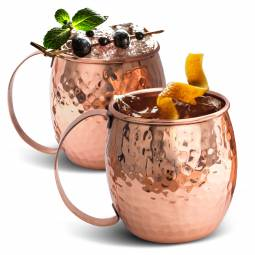 Solid pure copper cups for cocktails
